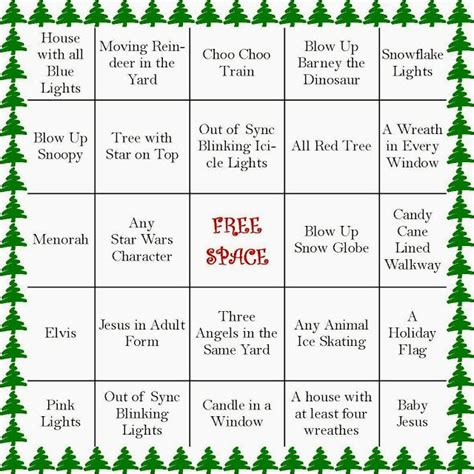 holiday light bingo cards christmas ideas pinterest