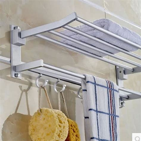 hanging towel rack in bathroom aluminum hanging towel racks folding shelves 60cm bath