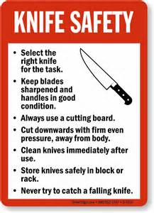 Safety Kitchen Knives Knife Safety Guidelines Sign Food And Kitchen Safety