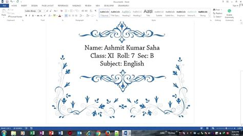 design a beautiful front page for school projects in