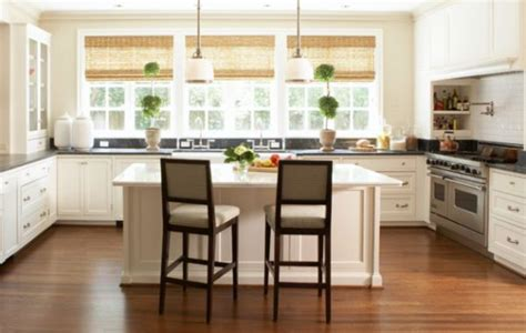 Kitchen Blinds And Curtains Ergonomic Modern Kitchen With Bamboo Blinds Decoist