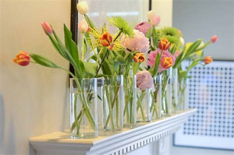 how to decorate home with flowers decoration mantle glass vase with flower arrangements