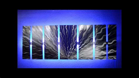 silver vibration led lighted metal wall art by brian m