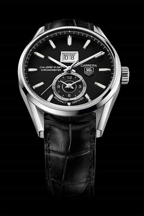 Tag Heuer Grand Calibre 8 Leather Black Gold up tag heuer with gmt and big date watchtime usa s no 1 magazine