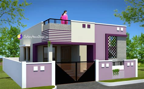 Contemporary Low Cost 800 Sqft 2 Bhk Tamil Nadu Small Home Small Home Plans With Cost