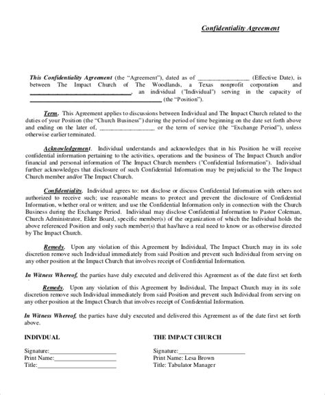 sle confidentiality agreement financial confidentiality agreement template 28 images