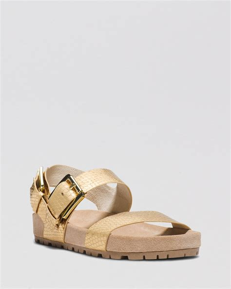 michael kors gold flat shoes michael michael kors flat sandals sawyer in gold pale