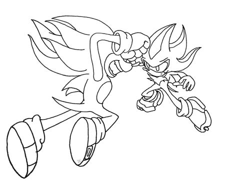 Shadow Sonic Coloring Pages Sonic Vs Shadow Lineart By Kaithephaux On Deviantart by Shadow Sonic Coloring Pages