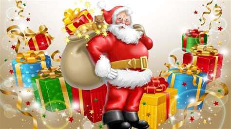 santa claus happy  year  merry christmas gifts  children desktop hd wallpaper