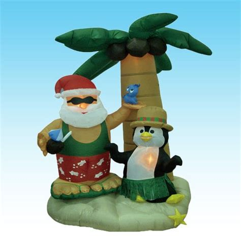 yard santa claus eraper around a tree on skis outdoor santa inflatables decorating