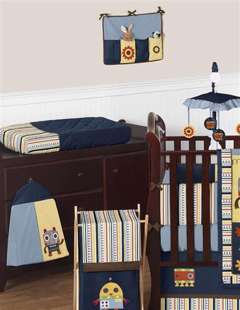 robot crib bedding sweet jojo designs blue brown modern robot baby boy crib
