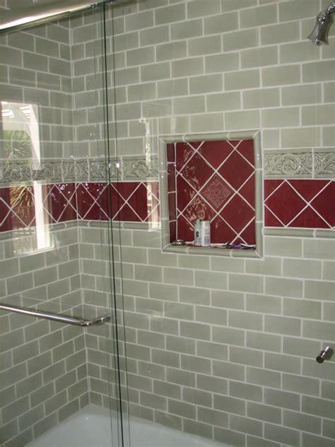 Burgundy Bathroom Wall Green And Burgundy Tile Walker Zanger Guest Bath