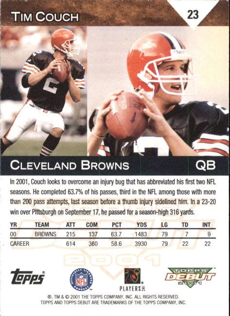 tim couch stats 2001 topps debut 23 tim couch nm mt