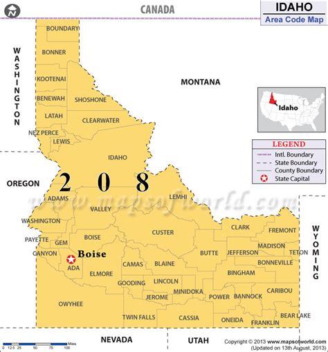 idaho map usa idaho area codes map of idaho area codes