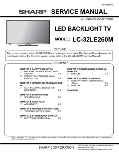 Led Sharp Lc 32le260m sharp lc 32le260m service manual repair schematics