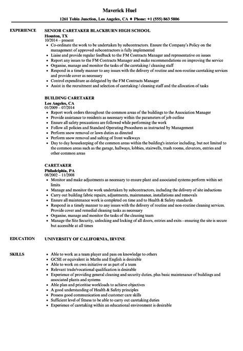 Caretaker Resume caretaker resume sles velvet