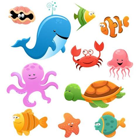 imagenes animales marinos animados animales marinos cartoon vector caricatura concha