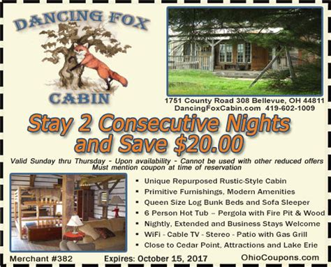 Cabin Place Coupon Codes by Ohio Coupons Ohio Discount Coupons For Travel Attractions Water Parks Groceries Bed And