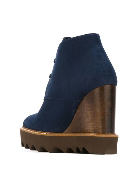 stella mccartney odette wedge lace up shoes in blue lyst