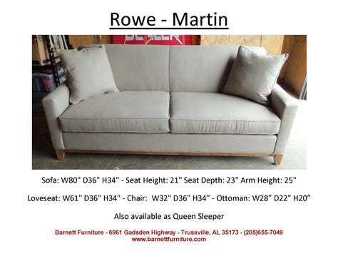 Rowe Martin Sofa by Barnett Furniture Apartment Size 72 Quot 83 Quot