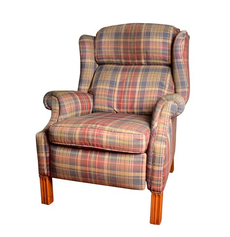 plaid reclining wingback chair ebth