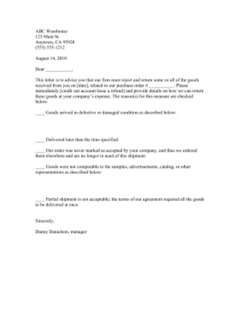 Rejecting Goods Letter Rejected Goods Notification Template