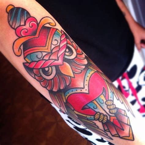 new school knife tattoo new school owl dagger tattoo by alex strangler