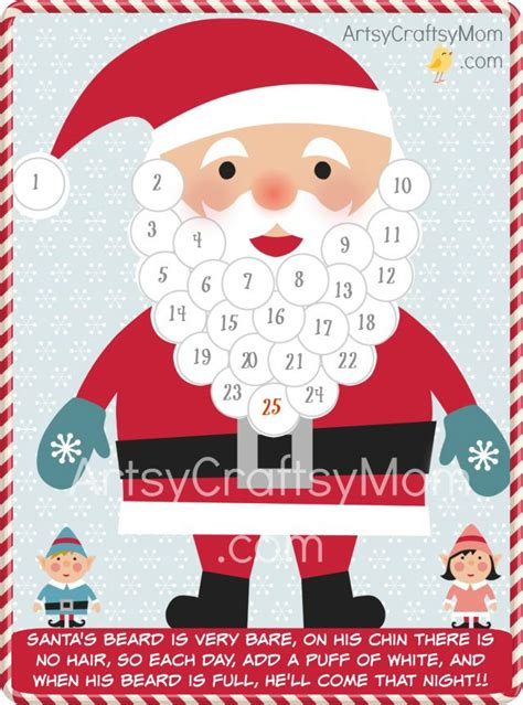 printable santa claus advent calendar free holiday printable santa advent calendar and gift