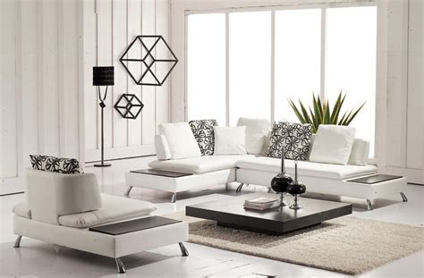 Contemporary Living Room Design With White Leather Contemporary Living Room Sofa