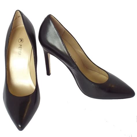 high slippers kaiser indigo black leather high heel shoes