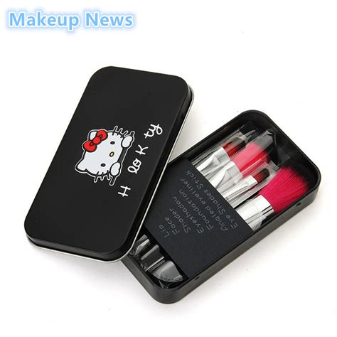 sweet hello pink black iron makeup brush kit 7 pcs make up brushes set pro