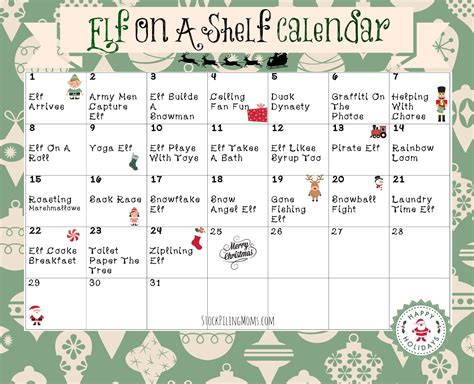 printable elf on a shelf pictures elf on a shelf calendar printable