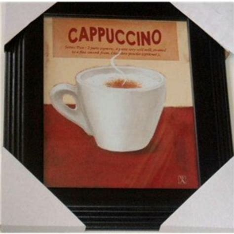 Cappuccino Framed Picture Coffee Themed Wall Decor