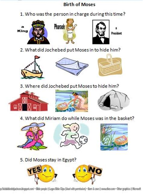 bible fun for kids life of moses worksheets