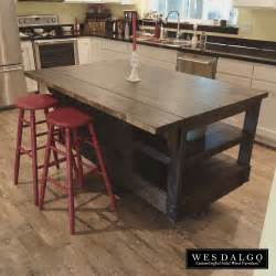 Wooden Kitchen Islands distressed dark wood modern rustic kitchen island cart
