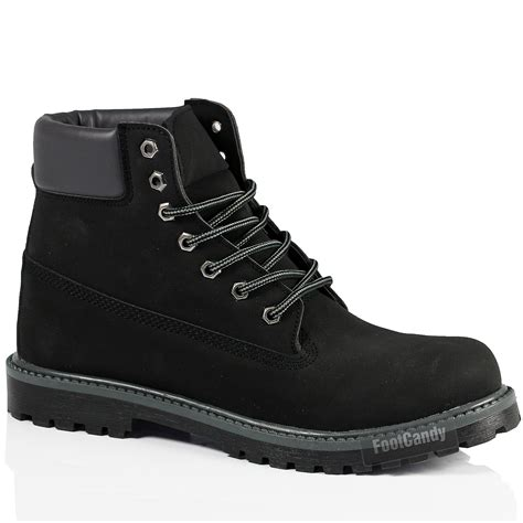 mens black leather walking boots mens black brown outdoor lace walking faux leather ankle