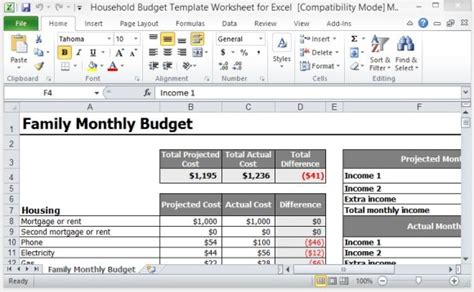 Household Budget Template Worksheet For Excel Excel Family Budget Template
