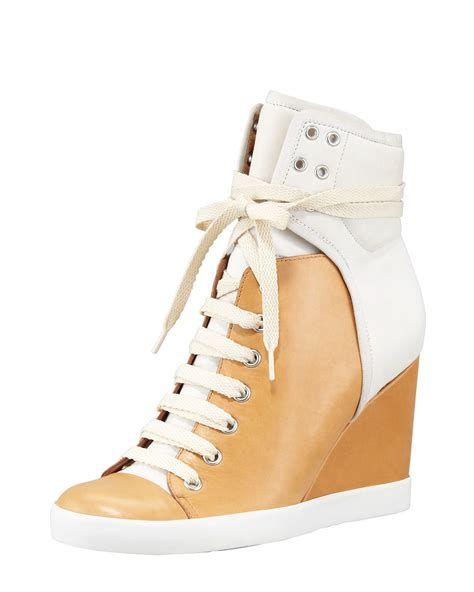 see by womens colorblock wedge sneaker poshoes