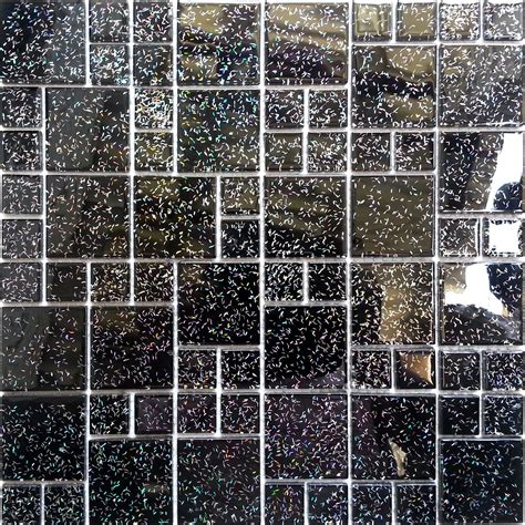 Mosaic Wall Tiles Glass Random Mix Mosaic Wall Tiles Black Glitter Feature