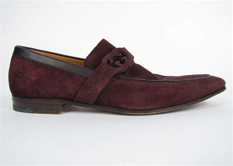 mens burgundy loafers mens gucci brown burgundy suede g logo leather