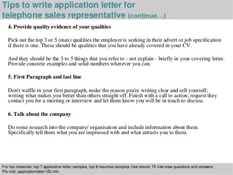 Telephone Sales Representative Cover Letter by Telephone Sales Representative Application Letter
