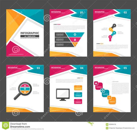 template phlet design pink yellow green infographic elements presentation