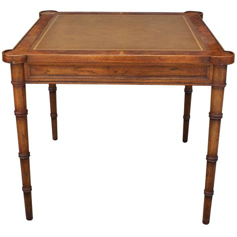 Square Card Table by Faux Bamboo And Leather Burl Square Card Table By Drexel