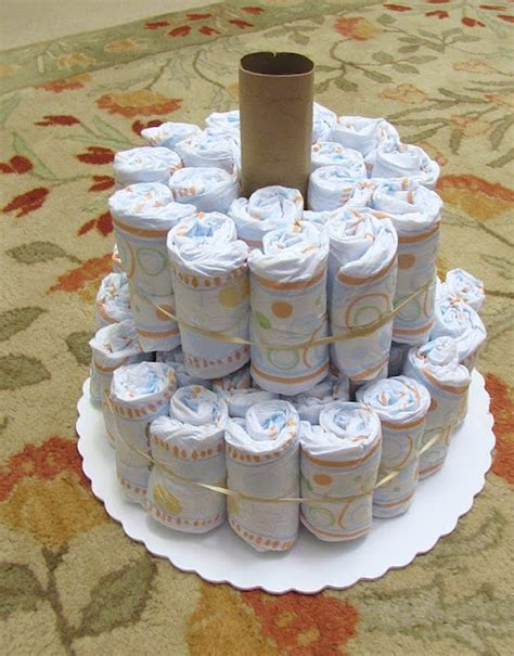 How To Make Paper Diapers For Baby Shower - cake paper towel roll receiving blankets wrapped