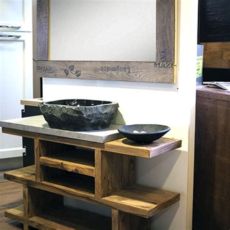 mobile bagno in offerta mobile bagno in legno etnico iroko con lavabo in radice di