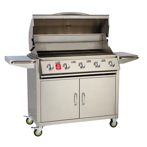 bullet 5 burner built in propane gas grill in stainless
