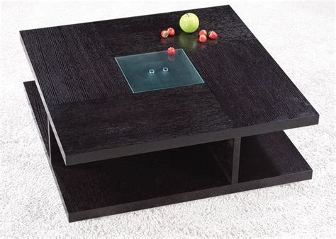 Square Black Wood Coffee Table with Glass Center Oceanside California AH5263