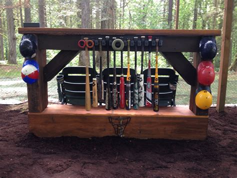 backyard baseball bat rack bar and stadium seats for