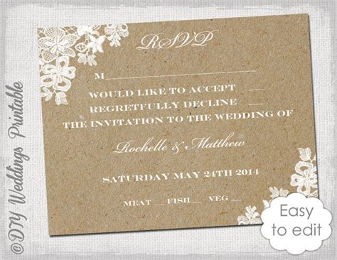 template for rsvp cards for wedding wedding rsvp template rustic lace printable