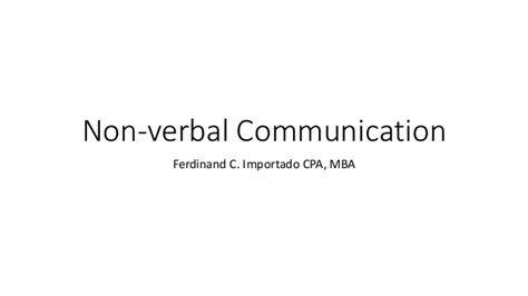 Mba For Non Speaking by Non Verbal Communications
